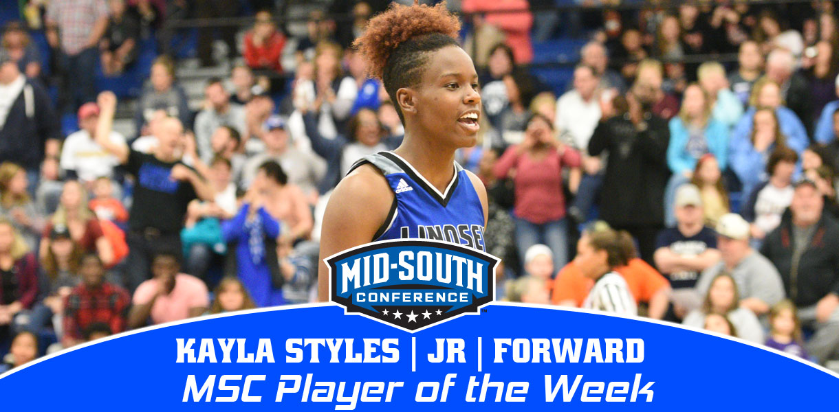 Photo for Kayla Styles named Mid-South Conference Women's Basketball Player of the Week