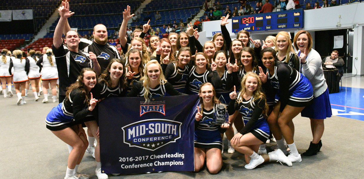 Photo for CHAMPS: Cheerleading wins first-ever Mid-South Conference title