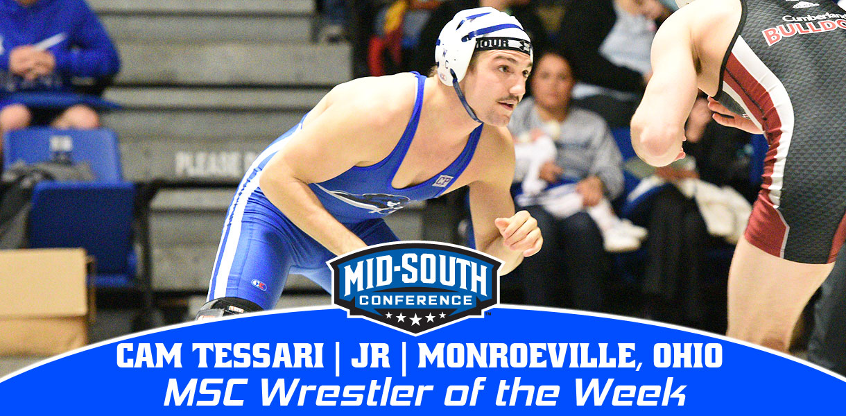 Photo for Tessari collects fourth Mid-South Conference Wrestler of the Week honor