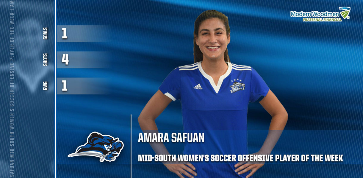 Photo for Safuan collects MSC Women's Soccer Offensive Player of the Week honors