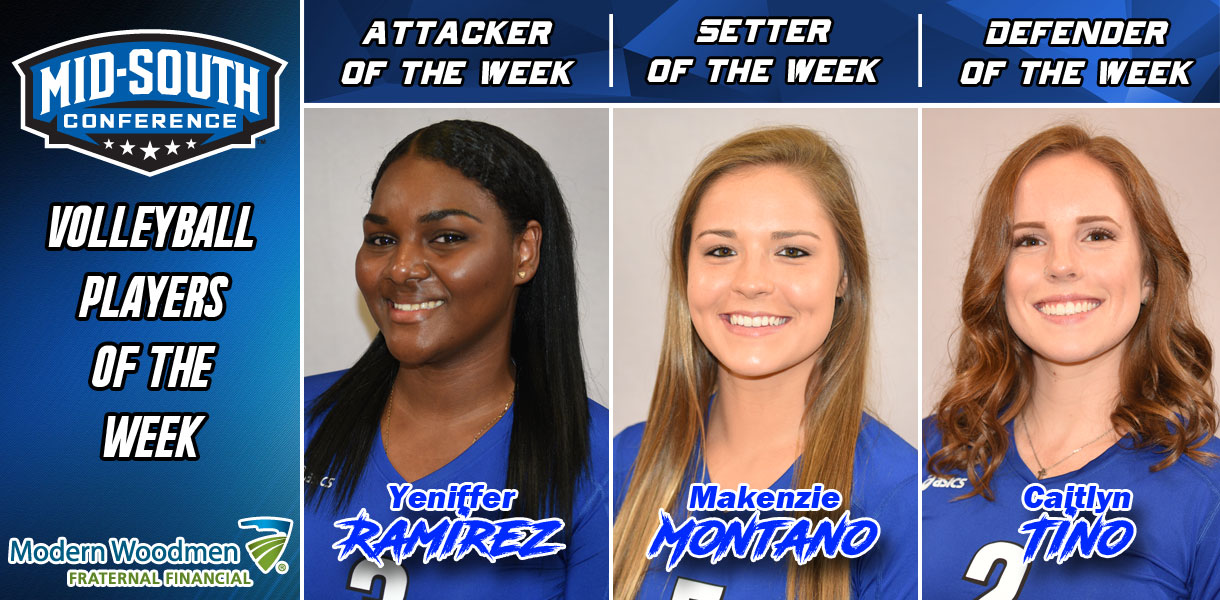 Photo for Ramirez, Montano and Tino sweep MSC Volleyball Player of the Week honors